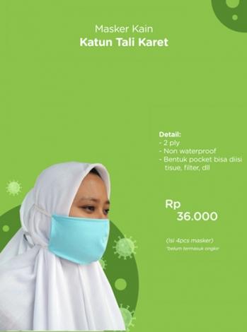Produk: Donasi Masker Kain Katun Tali Karet Isi 4 PCS