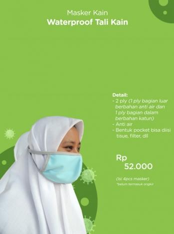 Produk: Donasi Masker Kain Waterproof Tali Kain Isi 4 PCS